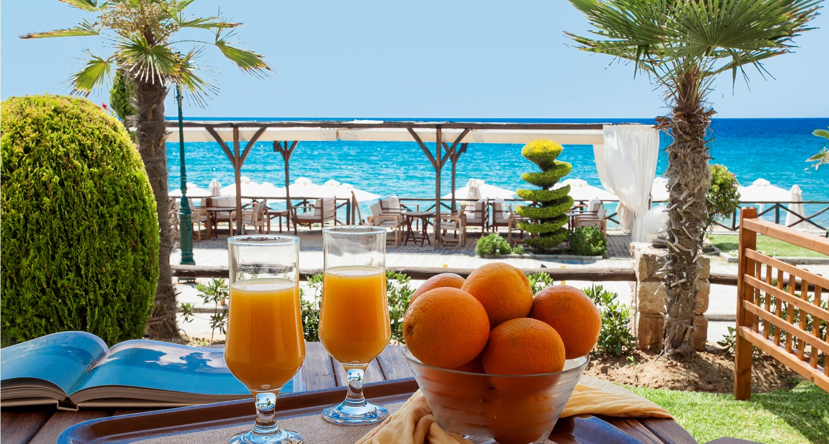 Enjoy your favorite refreshment, juice or drink overlooking the sea
